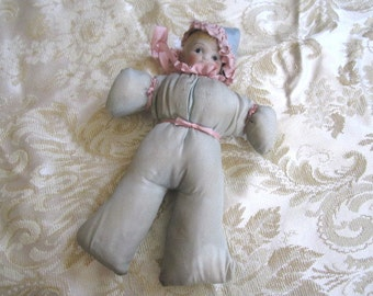 Vintage 1920s/30s Bisque Stuffed Baby Toy Doll
