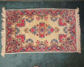 Vintage Woven Wool 24x42 Area Rug in Cranberry and Blue on Cream