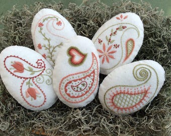 Easter Eggs Bowl Fillers/Easter Ornaments/ Hand Embroidered Paisley
