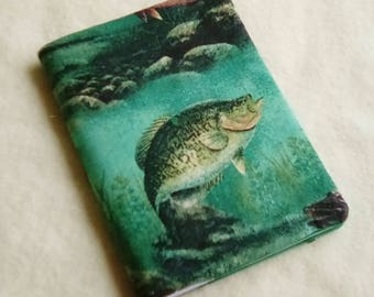Fabric Covered Pocket Memo Book, GAME FISH, Refillable Mini Composition Notebook Cover