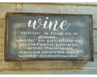 Wine Definition, Handpainted Sign, Rustic Decor, Wine Lover Gifts, Wine Signs, Wine Decorations Funny Wall Art Framed Wall Art Kitchen Decor