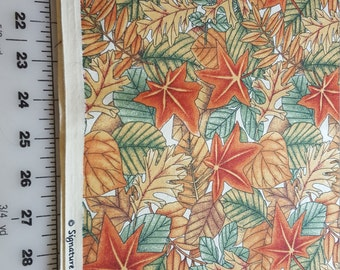 Cotton Fall Rust Brown Yellow green maple oak leaves print over 3yd Oakhurst signature classics
