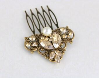 Antique brass hair comb, Bridal hair comb, Wedding headpiece, Swarovski crystal hair comb, Wedding hair accessories, Rhinestone hair comb