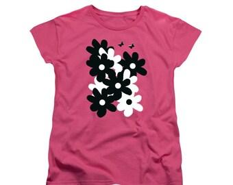 BIG Bold Black n White Flowers T-shirt, Hot Pink Shirt, Floral Wearable Art, Feminine Clothing, Women's Shirt, Butterfly Digital Design