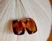 Madeira Citrine Earrings. Sterling Silver. Brazilian Citrine Gemstone Earrings. Minimalist Geometric Earrings. Fine Jewelry.