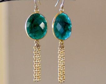 Emerald Gold Earrings. Green Brazilian Emerald Earrings.  Gold Filled Chains. May Birthstone. Fine Jewelry.