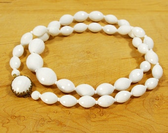 Vintage White Bead Necklace, Opera Length White Faceted Bead Necklace, Single Strand Cabochon Clasp 29 inch Long Necklace