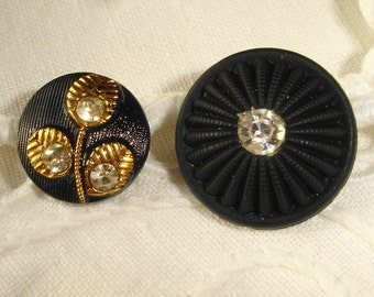 Vintage Black Glass Buttons with Rhinestones and Gold luster decor