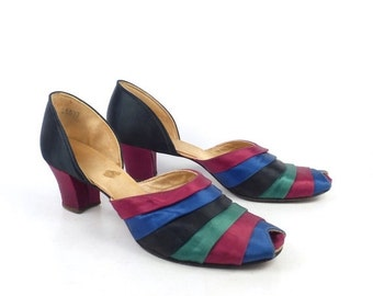 1940s Satin Heels Women's Peep toe Stripe Slippers