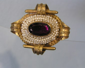 Antique 14kt Gold Pendant . Pin brooch . Seed pearl . Amethyst . Victorian Jewelry