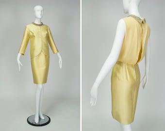 vintage 60s yellow Mr. Frank silk sleeveless blouson dress suit, matching chantung cutaway jacket, jeweled roll neck, so 5th Avenue! size M