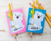 Printable cute koala bear valentine pencil holder, pixie stick or glow stick holder DIY printable valentine's day card for classroom gifts