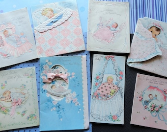 Blankets and Babies in Vintage Baby Lot No 56 Total of 8 Flocked Glitter and Die Cut