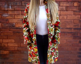 Vintage Floral Printed Lined Long Coat with Pockets|Plus Size Coat|Red Coat|Maternity Coat|Fitted Coat|Women's Coat|Eco Coat|Women's Jacket