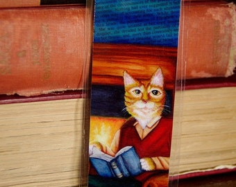 ON SALE Reading Cat Bookmark, Orange Tabby Cat in Clothes Reading Book, Paper Bookmark