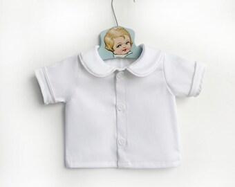 Baby Boy White Peter Pan Collar Shirt, Infant White Collared Shirt, Infant Button Down Dress Shirt, White Baby Clothes Boy, Baby Boy Shirts