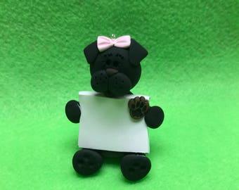 Polymer clay black dog ornament