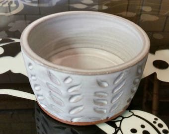 Cat or Small Dog Water or Food Bowl: Handmade Pottery, White Matte Glaze, Red Clay Body - OOAK!