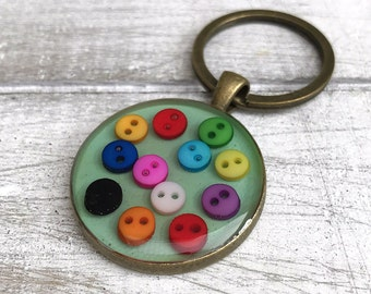 Rainbow Buttons Keyring, Lots of Buttons, Vintage Buttons Gift, Handmade in Wales, Keyring Collector, Button Lover Gift, Haberdashery Gift