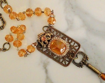 Vintage Handmade Artisan Amber One of Kind Altered Metal Pendant Necklace 24""