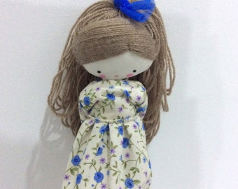 Handmade rag doll , Laia- ooak cloth art rag doll flowered dress, bow and socks toy for girls Made to order