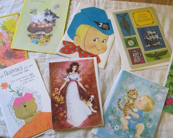 Eight Sweet Retro Unused Vintage Greeting Cards with Envelopes Baby Birthday Get Well