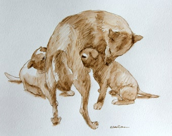 mother dog with puppies  art ink drawing