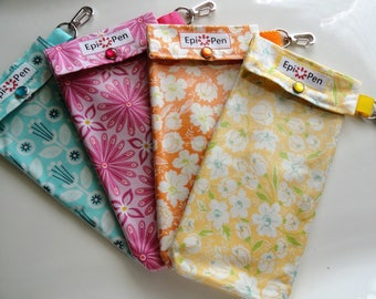 Epi Pen Cases (4 Pack) Clear Pocket Pouch w/ Clip Dual Adult or Jr. Size Allergy Pens 4x8 Your Choice of Fabrics ID Card Included