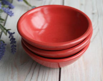 Satin Red Prep Bowls Set of Three Small Ceramic Stoneware Kitchen Bowls Ready to Ship Made in USA