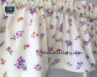 Country Summer Tiny Flowers Shades of Purples Valance Curtain Window Treatment by Idaho Gallery