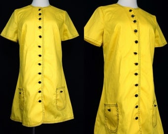 1960s Mod Yellow Scooter Dress Button Short Sleeve Mini A Line Pocket Go Go Small Medium