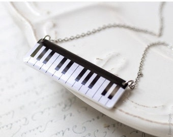 Piano necklace - Piano keys necklace - Black white necklace - piano pendant - Music jewelry (N035)