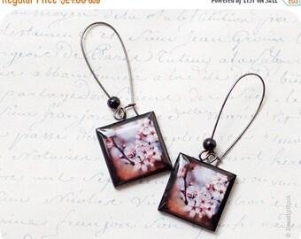 sakura earrings - Cherry Blossom earrings - pink flower earrings - sakura jewelry - Flower jewelry  (E002)