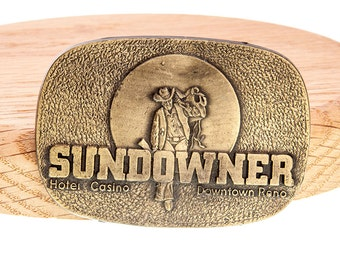 Vintage Sundowner Hotel Casino Downtown Reno NV Cowboy Belt Buckle By RJ