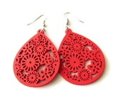 Bright Red Floral Wooden Dangle Earrings