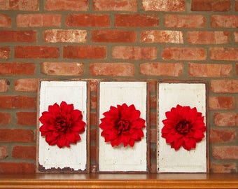 Set of three shabby chic red floral wall decor