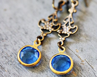 Sapphire Blue Vintage Charm Earrings, Antiqued Brass Filigree, Lightweight, Victorian, Romantic