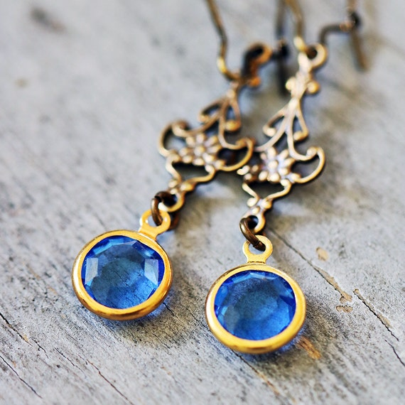 Sapphire Blue Vintage Charm Earrings, Antiqued Brass Filigree, Lightweight, Victorian, Romantic