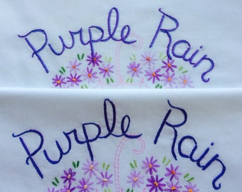 Purple Rain, Prince, Pillowcases, Hand embroidered, Prince gift, Purple decor