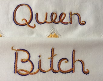 Queen Bitch, David Bowie, Pillowcases, Hand embroidered, Bowie gift, Hunky Dory