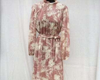 ON SALE 80s Sheer Dusty Mauve Floral Day Dress size Medium to Large