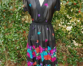 ON SALE 80s Sheer Black Floral Dress size Small to Medium  Plunging Neckline