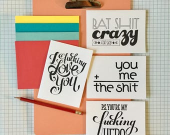 hand-lettered note cards variety pack: sassy love notes