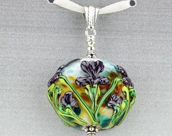 Purple Summer Iris Lampwork Glass Bead Pendant SRA by HallockGlass