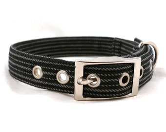 Black striped dog collar - Metal buckle collar - Strong dog collar - Gentleman / Black&gray striped adjustable dog collar with metal buckle