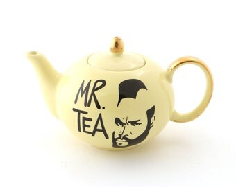 Mr Tea - small Teapot -  Mr T yellow with 22 K metallic gold accents - gift for tea drinker - gifts under 25 - tea for one teapot