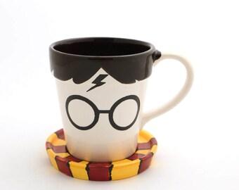 Harry Potter Mug , gryffindor scarf , cup and saucer ,  home and living, cups and mugs, ceramics and pottery , handmade mug