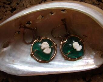 Antique Vintage Cameo Drop Sweetheart Earrings Screwback