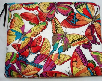 Padded Zipper Cosmetic Pouch in Packed Butterfly Print