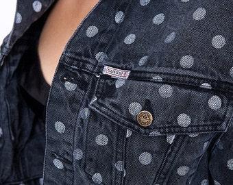 30% off SPRING SALE The Vintage Black Polka Dot Cropped Guess Denim Jacket